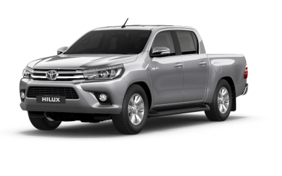 New Silver Toyota Hilux pick-up truck. Rental Car.
