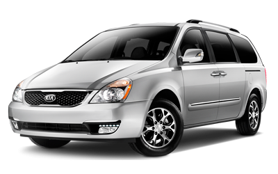 Silver Kia Carnival Station Wagon. Minivan for car rental.
