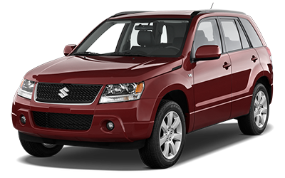 Red Suzuki Grand Vitara. Intermediate size SUV.