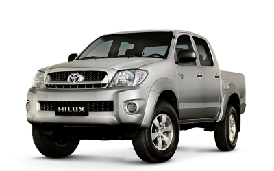 Silver Toyota Hilux. 4-door pick-up truck.