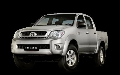 Silver Toyota Hilux. 4-door pick-up truck.