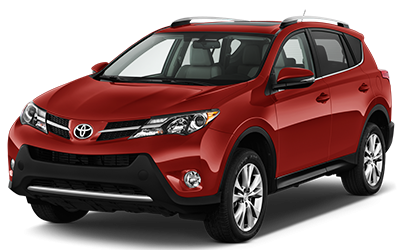 Red Toyota Rav4. Intermediate SUV for car rental.