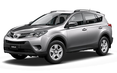 Silver Toyota Rav4. Intermediate SUV for car rental.