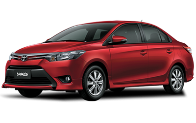 Compact Rental Car. Red Toyota Yaris Sedan.